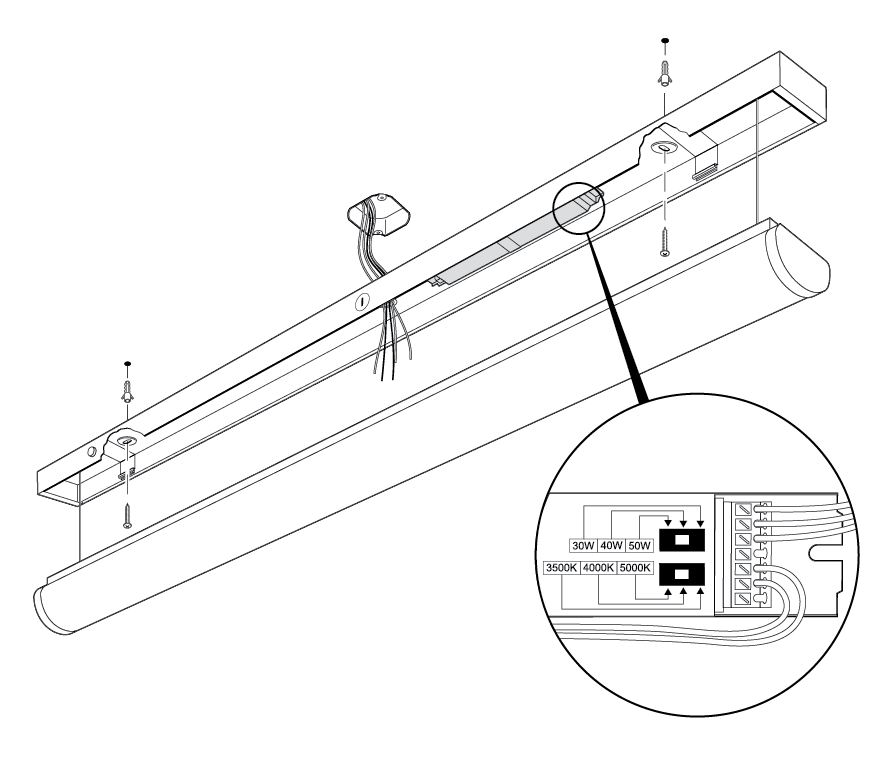 LED Stairwell Fixture Installation Diagram